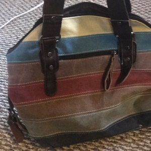Canvas striped purse
